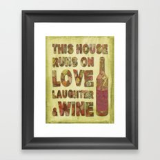 Love, Laughter and Wine Framed Art Print
