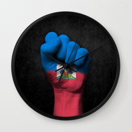 Haitian Flag on a Raised Clenched Fist Wall Clock