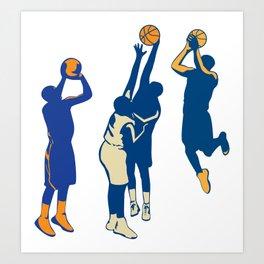 Basketball Player Shoot Ball Retro Collection Art Print