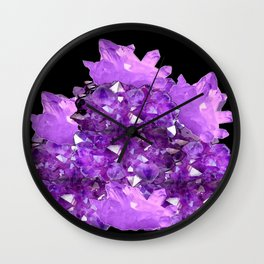 AWESOME PURPLE AMETHYST CRYSTAL CLUSTER Wall Clock