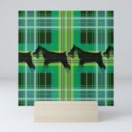 Sniffing Schnauzers in Green Plaid Mini Art Print