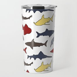 Sharks in Nautical Colors Travel Mug