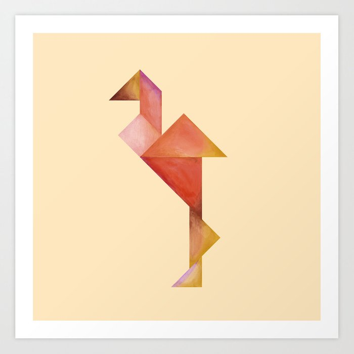 Tangram Flamingo Yellow Art Print by willekebrandsma | Society6