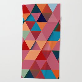 Colorfull abstract darker triangle pattern Beach Towel