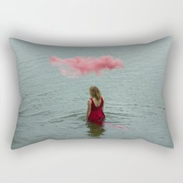 Beautiful woman swimming at the sea. Rectangular Pillow