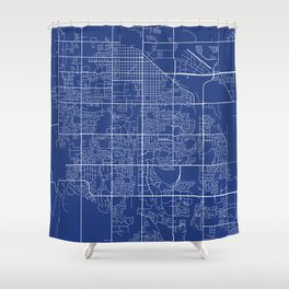 Fort Collins Map, USA - Blue Shower Curtain