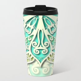 White cyan and yellow Beautiful Wedding Mandala Metal Travel Mug