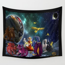 Dragonlings Space Party Wall Tapestry