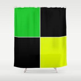 greenblack yellow squares  geometric pattern Shower Curtain