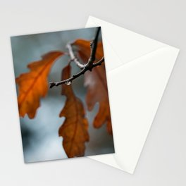 Rust Orange Oak Leaves in the Rain Stationery Cards