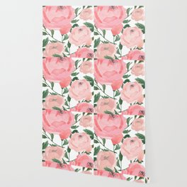 Peony Watercolor Collage Wallpaper