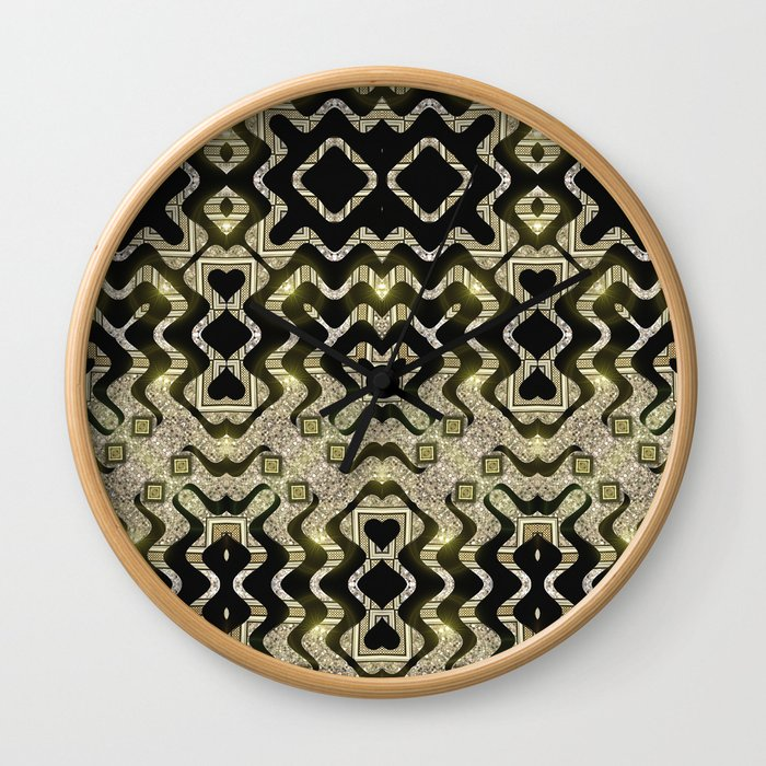 Tribal Gold Glam Wall Clock