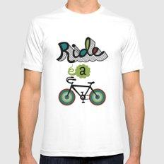 Ride a Bike 3  White MEDIUM Mens Fitted Tee
