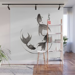 Follow the Leader - Goldfish Sumi-e Painting Wall Mural