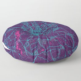 Rennes Neon City Map, Rennes Minimalist City Map Art Print Floor Pillow
