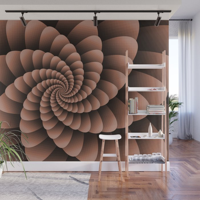 Sherwin Williams Cavern Clay Nautical Swirl Digital Design Nautilus Wall Mural
