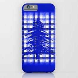 Pine Tree on Royal Blue Plaid iPhone Case