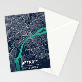 Detroit Blue Dark Color City Map Stationery Cards
