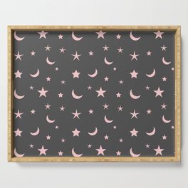 Grey background with pink moon and star pattern Serving Tray