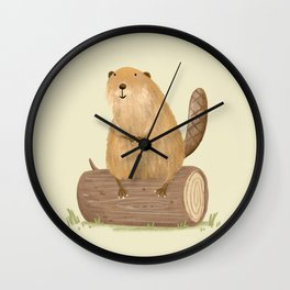 Beaver on a Log Wall Clock