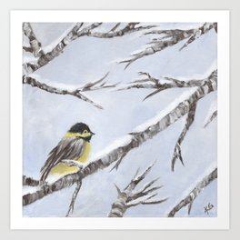 Bird in Snow Art Print