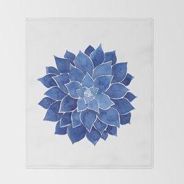 Indigo Succulent |  Watercolor Painting Throw Blanket