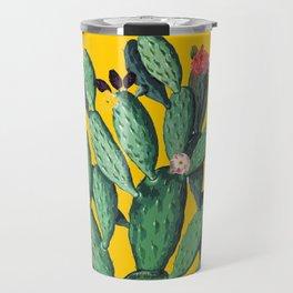 Yellow Flored-Cactus Travel Mug