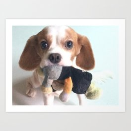 CoCo 狗狗 with Toy Art Print