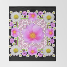 Floral Abundance Black Shasta Daisy Pink Roses Abstract Art For the home or the office and gifts fro Throw Blanket