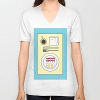 breakfast V-neck T-shirts featuring Breakfast by Hope Palattella