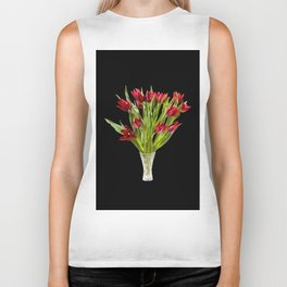 Red cut tulips bouquet in glass vase Biker Tank