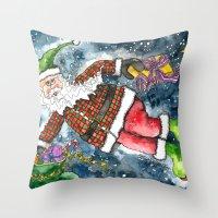 santa Throw Pillows featuring Santa by Shelley Ylst Art