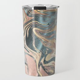 Liquid Gold and Rose Gold Marble Travel Mug
