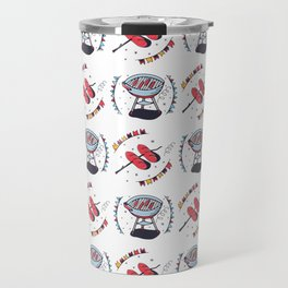 Seamless pattern with sausages and grill Travel Mug