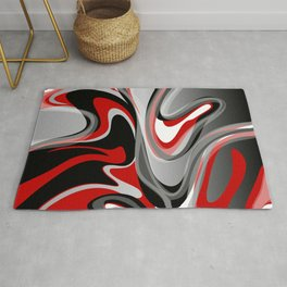 Liquify - Red, Gray, Black, White Rug