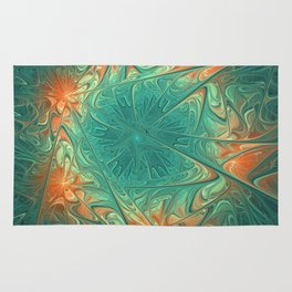 Frozen Flowers I Abstract orange flower, ice mint green water, cute floral pattern Rug