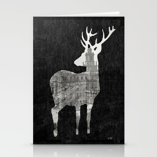 Deer City Collage 3 Stationery Cards