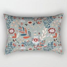 Deep Indigos & Gray Garden Hearts Rectangular Pillow