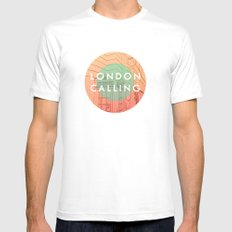 Songs and Cities: London Calling SMALL White Mens Fitted Tee