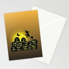 Pumpkins and witch in front of a full moon Stationery Cards