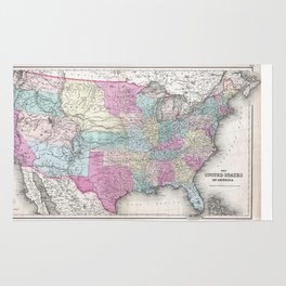 1857 Colton Map of the United States of America Rug