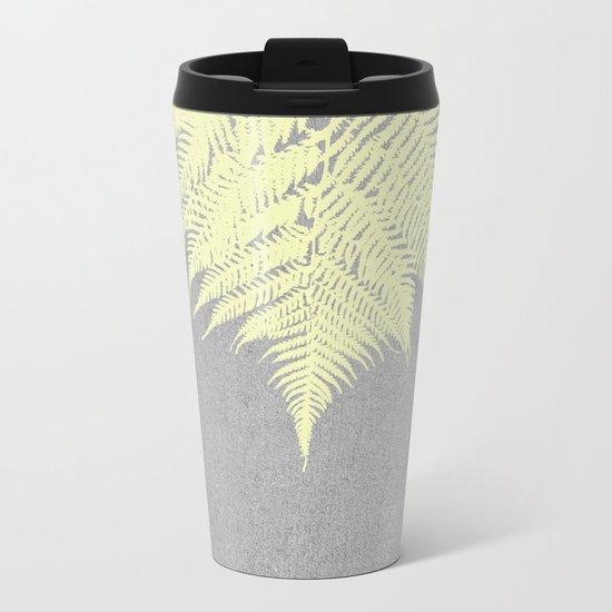 Concrete Fern Yellow Metal Travel Mug