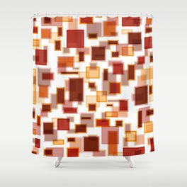 Red Abstract Rectangles Shower Curtain