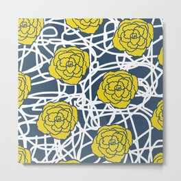 YELLOW ROSE SQUIGGLE Metal Print