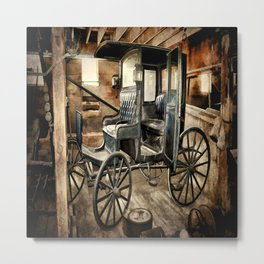 Vintage Horse Drawn Carriage Metal Print