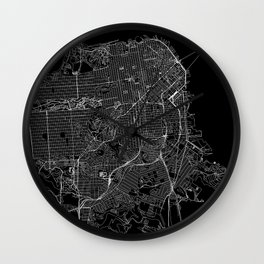 San Francisco Black Map Wall Clock