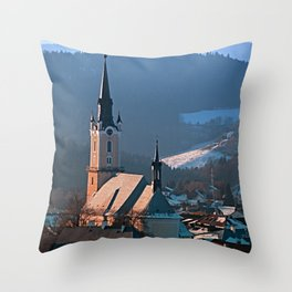 City church in winter wonderland | landscape photography Throw Pillow