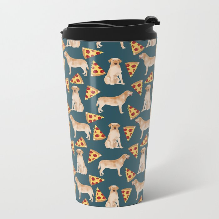 Yellow Labrador pizza cheesy slice of pizza food trendy pet gifts for yellow lab owners dog breed Metal Travel Mug