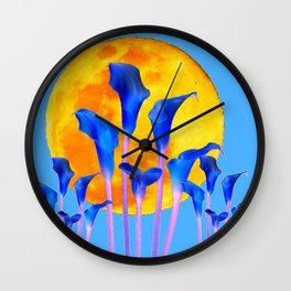 GOLDEN FULL MOON BLUE CALLA LILIES BLUE ART Wall Clock