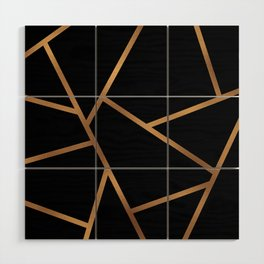 Black and Gold Fragments - Geometric Design Wood Wall Art